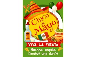 Mexican Cinco de Mayo holiday invitation poster