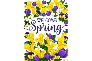 Spring Season banner with flower, blooming plant