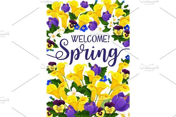 Spring Season Banner With Flower Blooming Plant