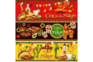 Mexican Cinco de Mayo vector fiesta food banners