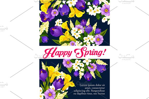 Vector Springtime Floral Flowers Bunch Poster
