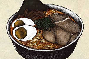 Hand drawn ramen Japanese (PSD)