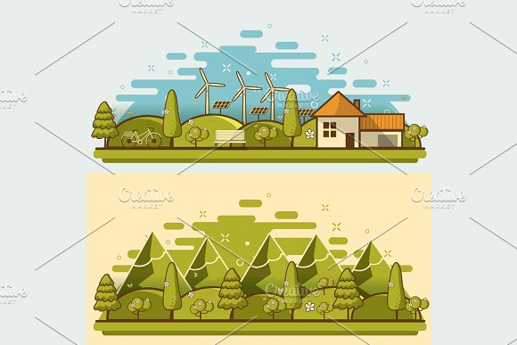 Natural Landscape In The Flat Style