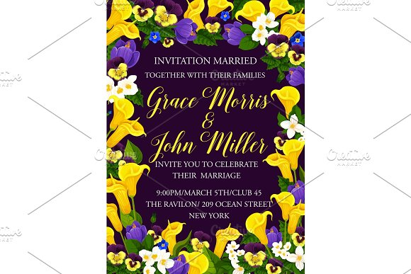 Vectorwedding Party Invitation Card Of Flowers