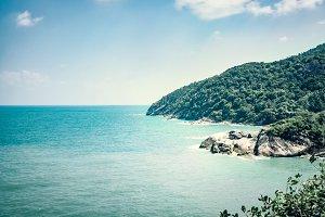 Seascape with stony beach
