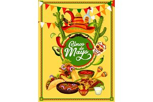 Cinco de Mayo fiesta party food and drink banner