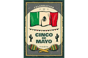 Cinco de Mayo mexican holiday retro banner