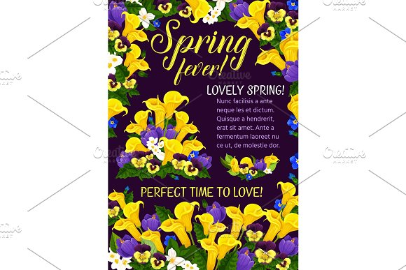Spring Season Holiday Greeting Banner With Flower