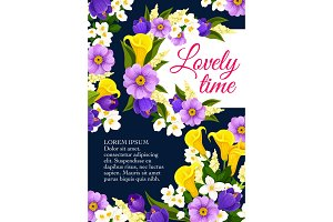 Vector lovely spring time flowers blooming poster