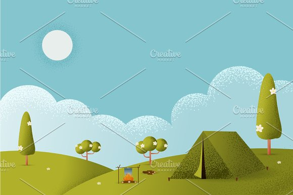 Landscape.Hiking And Camping Vector