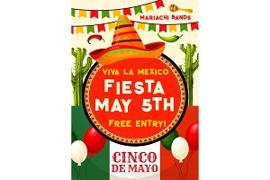 Mexican party invitation for Cinco de Mayo holiday