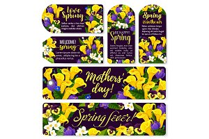Flower tag for Spring holiday or Mother Day design