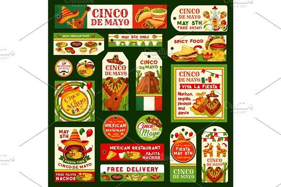Cinco De Mayo Mexican Vector Fiesta Tags