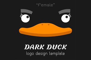 Female dark duck Flat logo