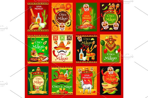 Cinco De Mayo Mexican Holiday Vector Posters