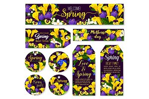 Mother Day flower tag for Spring Season Holiday