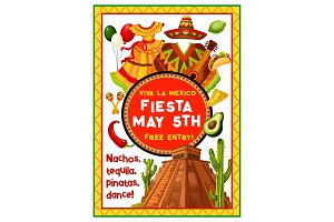 Mexican holiday party invitation of Cinco de Mayo