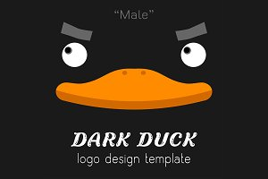 male dark duck Flat logo