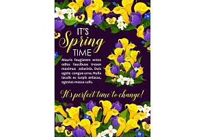 Spring flower and blooming plant greeting card