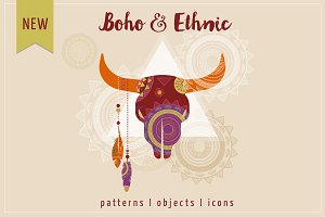 Boho & Ethnic set. Patterns + icons