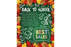 Back to school special offer poster, sale design