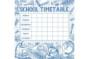 School sketch timetable schedule vector template