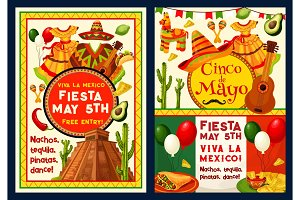 Cinco de Mayo Mexican vector greeting card