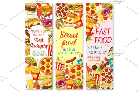 Fast Food Restaurant Menu Banner With Snack Meal