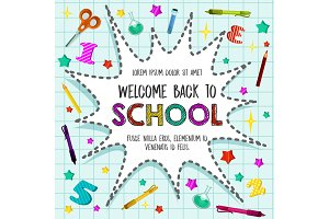 Back to School vector sationery pattern poster