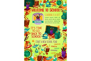 Back to school banner with education items frame
