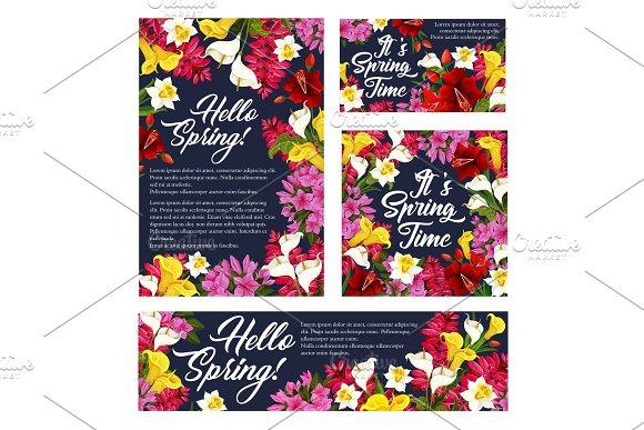 Vector Springtime Season Flowers Posters