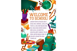 Back to School vector education study poster