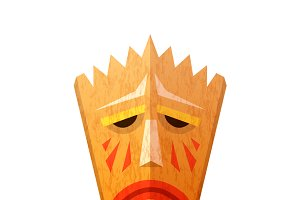 Ancient ritual wooden voodoo mask
