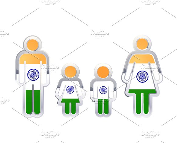 People Icon With India Flag