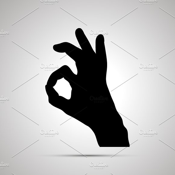 Silhouette Of Hand In OK Gesture
