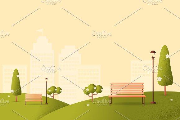 Park Vector Texture Style Concept Il