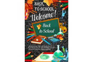 Back to school banner template on blackboard