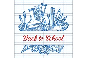 Back to School vector stationery ink sketch poster