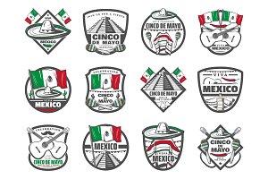 Cinco de Mayo Mexican vector retro sketch icons