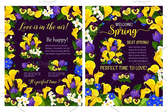 Spring Poster With Flower Frame And Blooming Plant