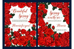 Spring floral poster with red rose flower frame