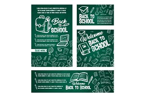 Back to School vector web banners posters set