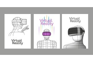 Set Vr posters. Man in virtual reality headset. Linear objects and elements.