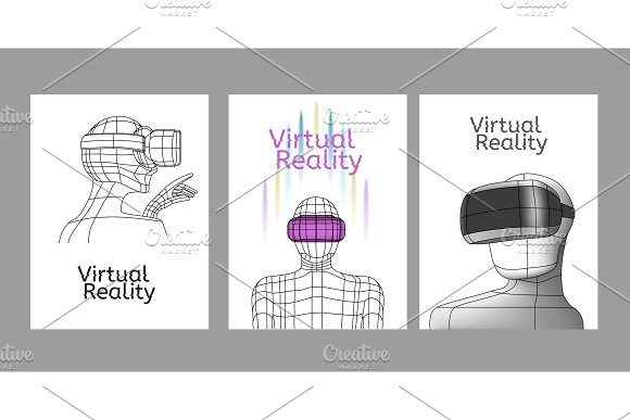 Set Vr Posters Man In Virtual Reality Headset Linear Objects And Elements