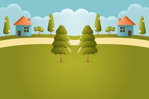 House on hill Vector texture style