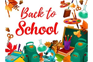 Back to school supplies festive poster design