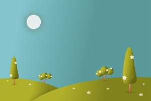 Meadow landscape vector illustration