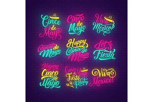Cinco de Mayo neon lettering of mexican holiday