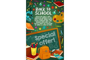 Back to School vector chalkboard poster