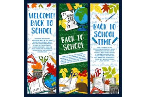 Back to School vector chalkboard banners